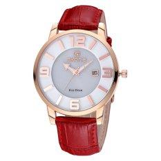 CITOLE SKONE Newest Luxxury Solar Energy Date Watch Women Montre Femme Charge Leather Casual Quartz Watch Bracelet Wristwatch Montre (Brown)