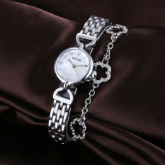 CITOLE WEIQIN Women's Fashion Watch Best Selling Quartz Wristwatch Ladies Casual Rhinestone Flowers Pendant Bracelet Watches (Silver White)