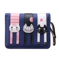 Clutch Change Coin Cards Bag Women Purse Ladies Handbag Short Mini Cats Wallet Dark Blue (Intl)