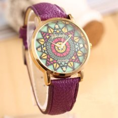 Color Compass Gold Dial Leather Band Women Quartz Wrist Watch Purple