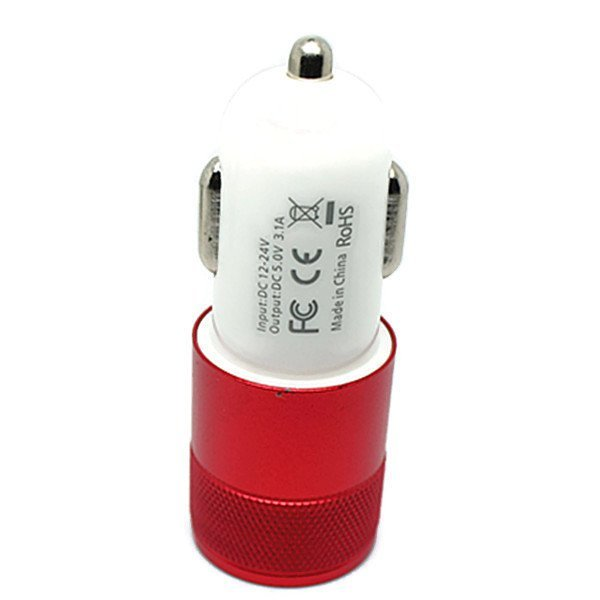 Colorful Mini USB 2-Port Car Charger (Red) (Intl)