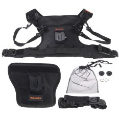 Commlite Multi-Functional Rain-Proof Double Dual Camera Lens Carrying Vest Holder with Side Holder & Belt Strap for Outdoor Photographers Shooting for Canon ...