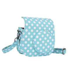 Compact Cute Lovely Canvas Protective Camera Bag Carrying Case Pouch Cover Protector Blue Wave Point Pattern W / Shoulder Strap Album Pocket For Fujifilm Instax Mini 8 + / 8s / 8 Outdoorfree