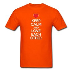 CONLEGO Funny Cotton Men's Love Each Other T-Shirts Orange