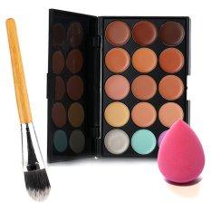 Contour 15 Colors Contour Face Cream Makeup Concealer Palette + Powder Brush + Sponge Puff