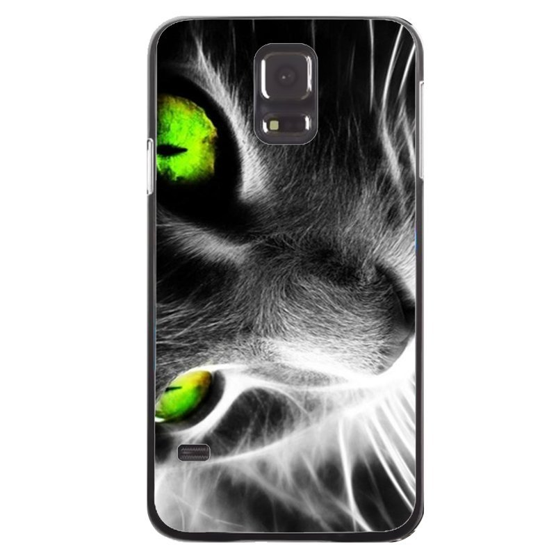 Cool Green Eyes Kitten Painting Phone Cover For Samsung Galaxy S5 (Black)