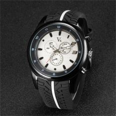 Cool Tire Silicone Band Black Clock Analog Military Sport Casual Wristwatch (White)