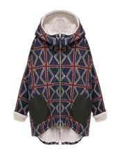 Coral Fleece Thicken Plaid Hooded Winter Coat With Zipper Blue