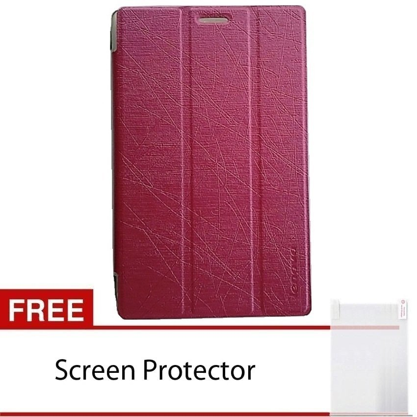 Cover Folio Case Lenovo Tab 2 A7-10F Leather Case – Merah + Free Screen Protector