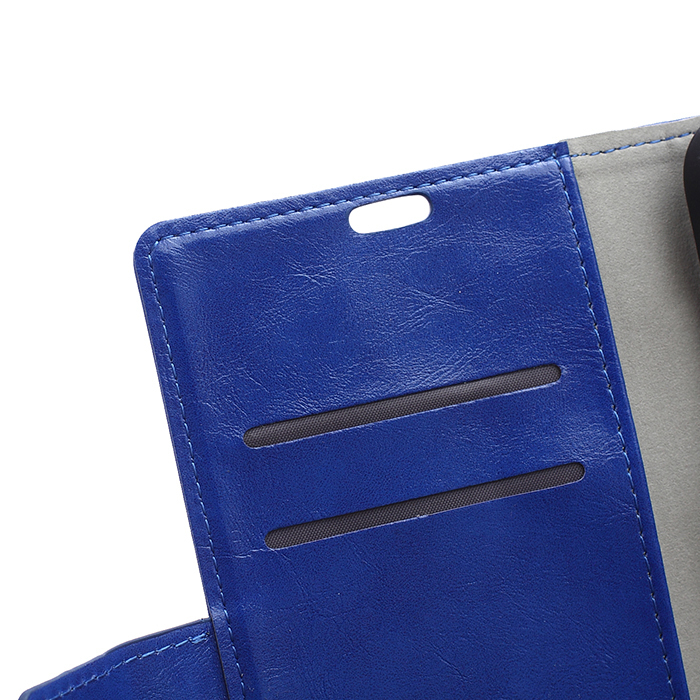 Crazy-Horse Leather Flip Case With Card Slot For Samsung Galaxy J5 Blue Color (Intl)
