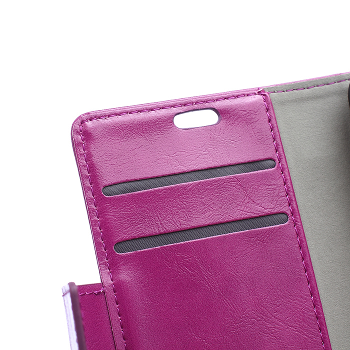 Crazy-Horse Leather Flip Case With Card Slot For Vodafone First 6 Purple Color (Intl)