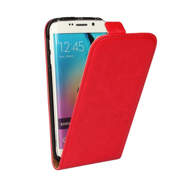 Crazy Horse Stripe Leather Up-down Flip Open Holster Cover for Samsung Galaxy S6 Edge (Red)