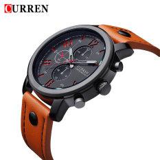 Curren Men's Sports Quartz Watches Mens Watches Luxury Leather Strap Wristwatch 30m Water Resistance Analog Wristwatch-Orange + Black