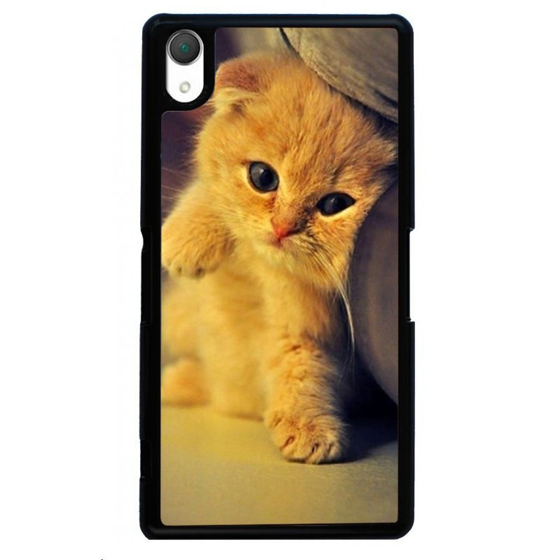 Cute Cat Kitten Printed Phone Case for SONY Xperia Z3 (Black)