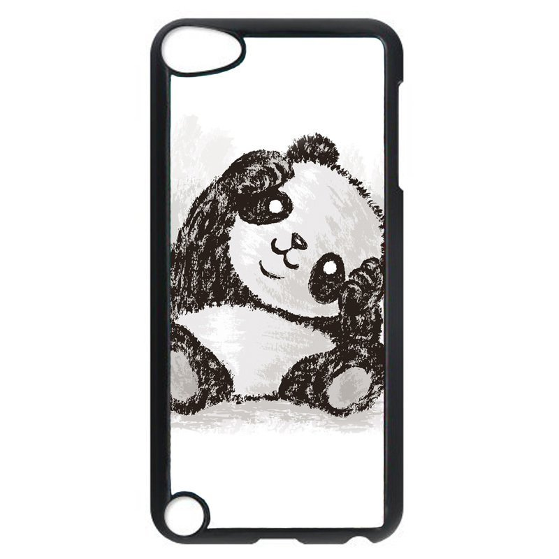 Cute Panda Hand-Painted Pattern Phone Case for iPod Touch 4 (Black)