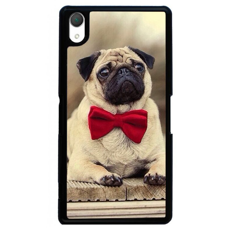 Cute Pug Puppy Painting Phone Case for SONY Xperia Z4 (Black)