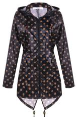 Cyber Meaneor Women Girls Dot Raincoat Fishtail Hooded Print Jacket Rain Coat (Black)