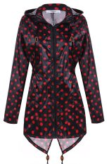 Cyber Meaneor Women Girls Dot Raincoat Fishtail Hooded Print Jacket Rain Coat (Black and Red)