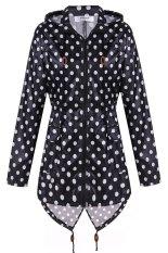Cyber Meaneor Women Girls Dot Raincoat Fishtail Hooded Print Jacket Rain Coat (Black and White)
