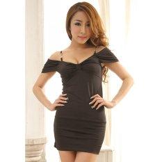 Cyber Sexy Women Lady Black Nightwear Sleepwear Nightclub Lingerie Dress (Black)