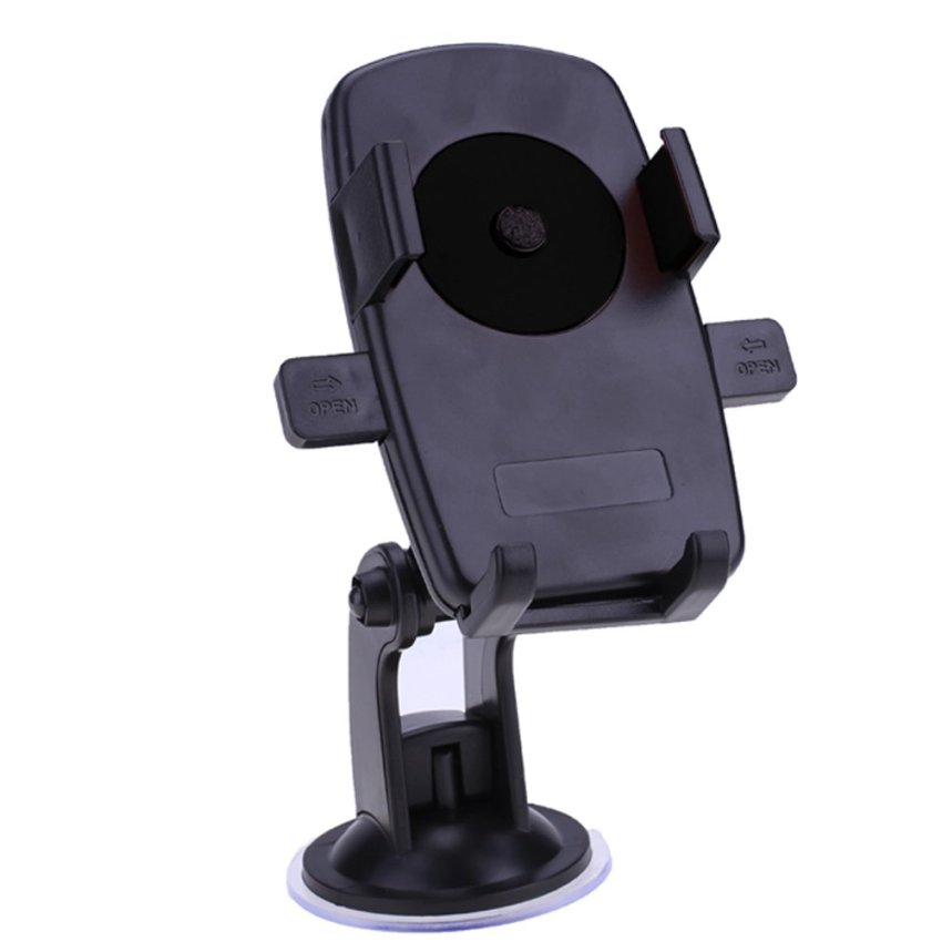 Cyber Universal 360 degree Rotating Easy One Touch Car Mount Holder Windshield Mount Holder for Smart Phones (Black)