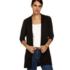 Cyber Zeagoo Women Fashion Lapel Casual Long Windbreaker Outwear Cardigan Coat (Black) - Intl
