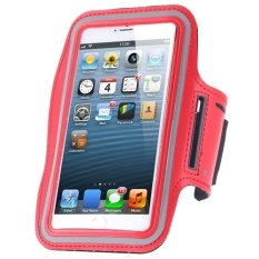 Cycling Running Mobile Sport Adjustable Strap Arm Band Case Cover For IPhone 6 6S (Red)