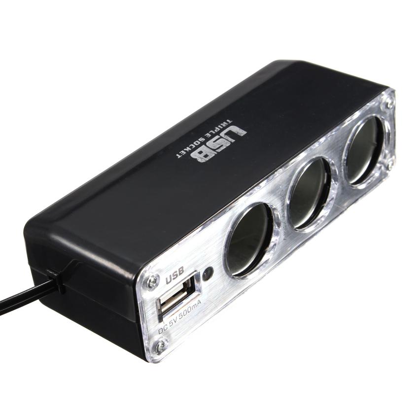 DC 12V Multiprise 3 Prise Allume Cigare USB Voiture Chargeur Adaptateur Splitter (Black) (Intl)