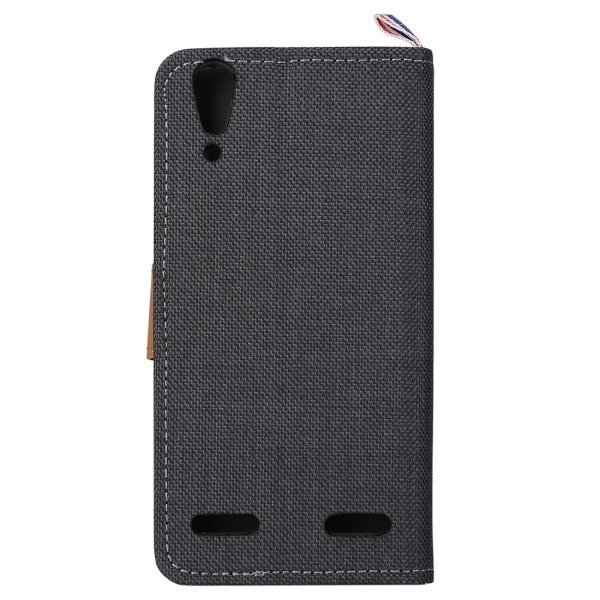 Denim Texture Horizontal Flip Leather Case with Card Slots & Holder for Lenovo A6000 (Black) (Intl)