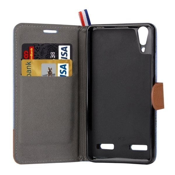 Denim Texture Horizontal Flip Leather Case with Card Slots & Holder for Lenovo A6000 (Blue) (Intl)