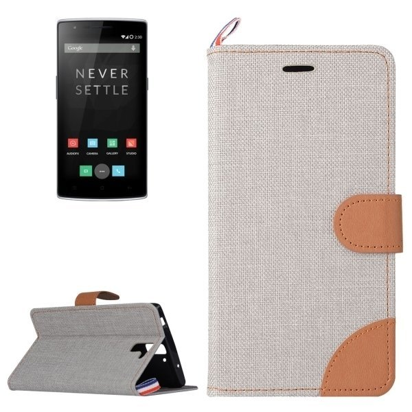 Denim Texture Leather Flip Cover for OnePlus One (Grey) (Intl)