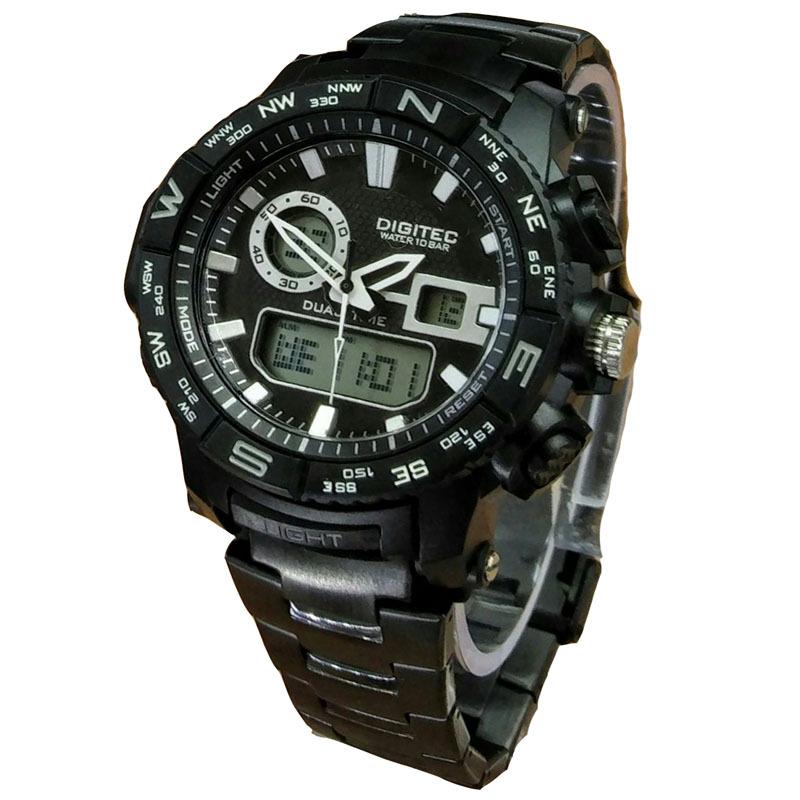 Digitec Dual Time - Jam Tangan Sport Pria - Stainless Steel - DG 3030 BW