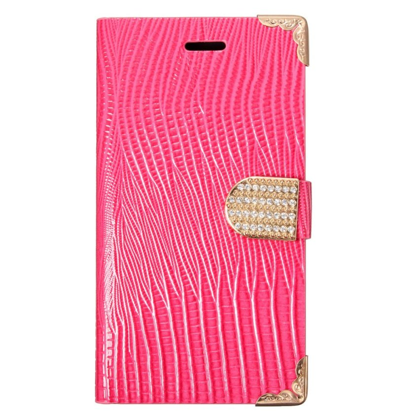 Diomand Lizard Skin Wallet Flip PU Leather Cover Case Card Stand For XiaoMi Note Rose red