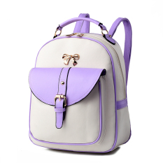 Direct Selling Quality Assurance Backpack 2016 New Tide Bag Student Spring And Summer Fashion Casual Handbag Free Shipping (Purple / White) - Intl