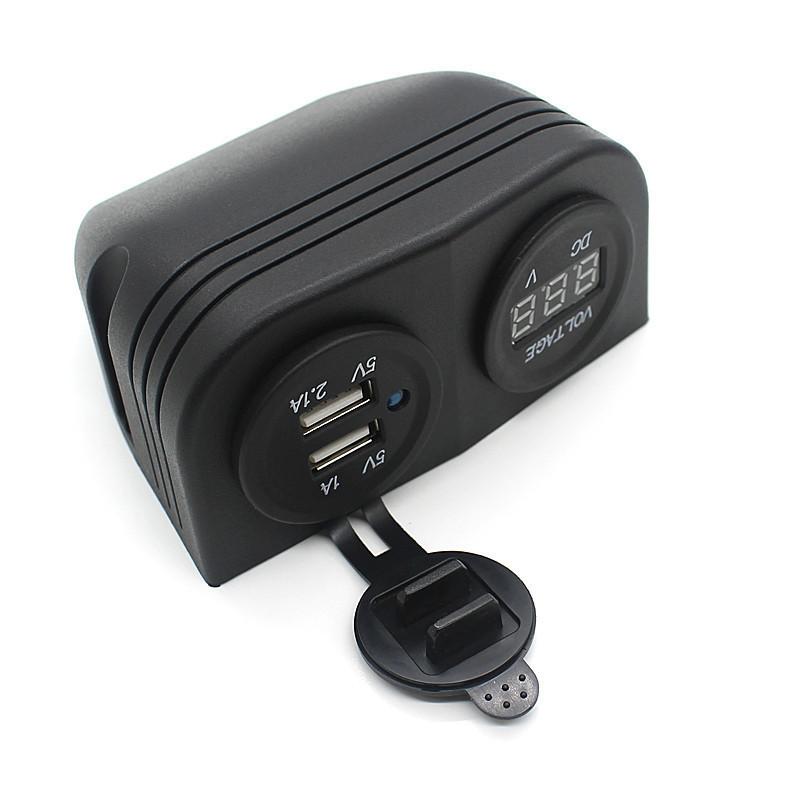 Dual Car Moto USB Cigarette Lighter Socket + Digital Display Voltmeter (Intl)