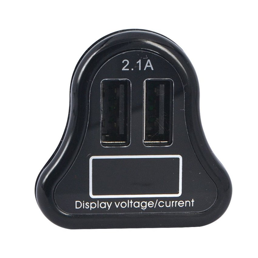 Dual USB Car Charger with LED Display 2.1A - Hitam