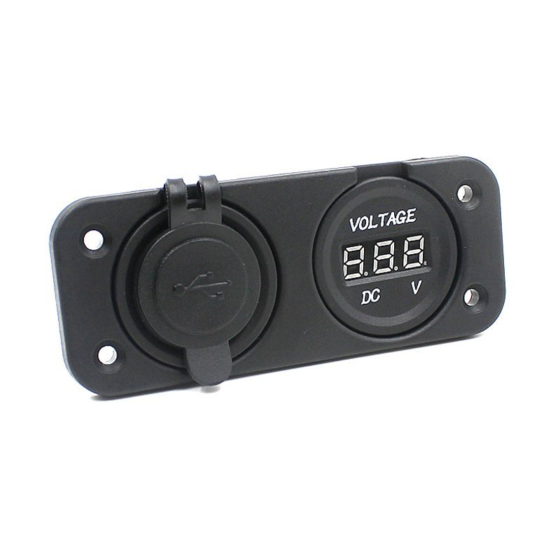 Dual USB Car Motorcycle Cigarette Lighter Socket 12V Charger Outlet + Voltmeter Green (Intl)