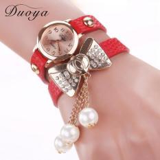 Duoya Femmes Mode Casual Bracelet En Cuir Montre-Bracelet Femmes Robe Red Free Shipping