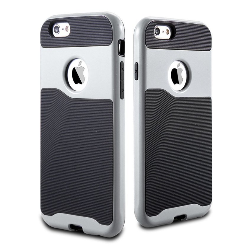 Durable Hybrid TPU+PC Case for Apple iPhone 6 6S Silver/Black (Intl)