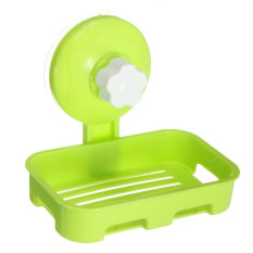 Durable Plastic Bathroom Shower Strong Suction Cup Soap Dish Tray Wall Holder Green - Intl