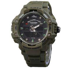 Dziner Dual Time - Jam Tangan Sport Pria - Rubber Strap - DZ8078 GREEN ARMY