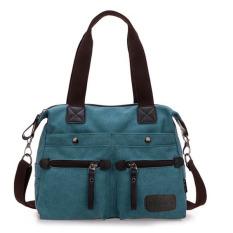 Ekphero Women Men Canvas Multi Pocket Handbags Casual Pillow Shoulder Crossbody Bags Blue (Intl)