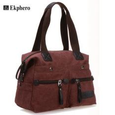 Ekphero Women Men Canvas Multi Pocket Handbags Casual Pillow Shoulder Crossbody Bags Purple (Intl)