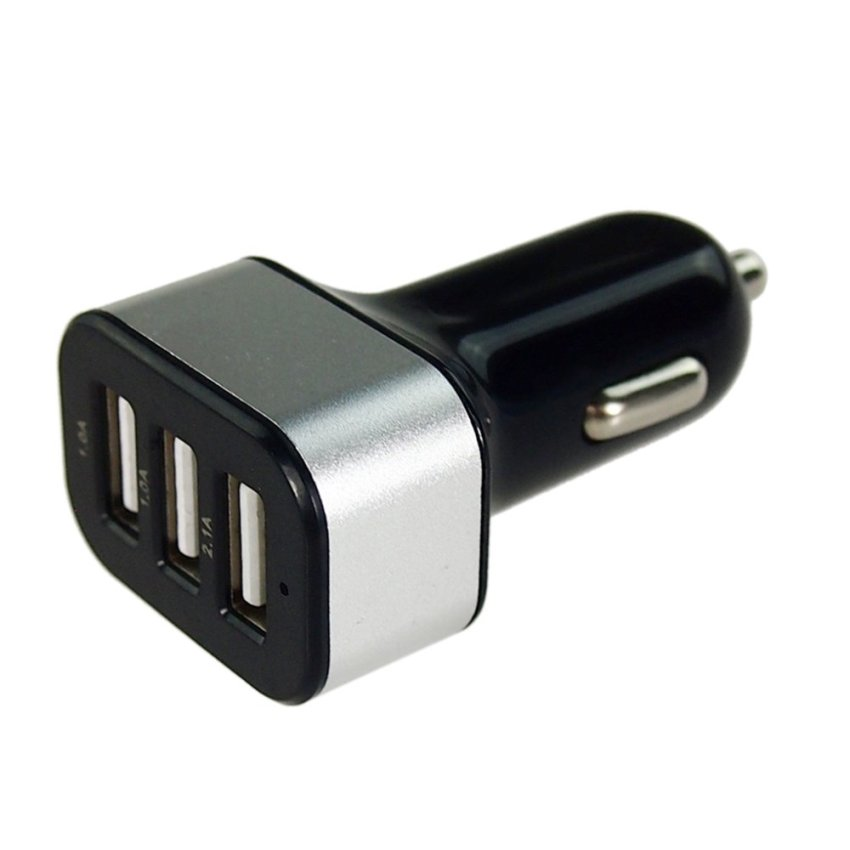 ELENXS Smooth Candy-Colored Frosted 3 Port USB Car Charger (Silver)