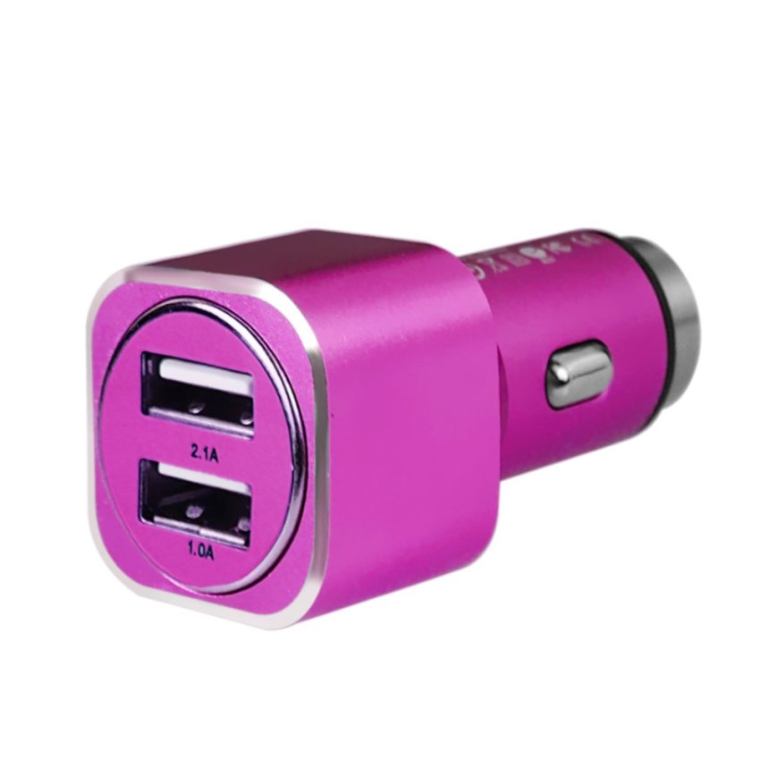 ELENXS Square 2 Ports Usb Car Charger For Iphone Samsung Htc Universal Mini Practical Portable Adapter Rose Red