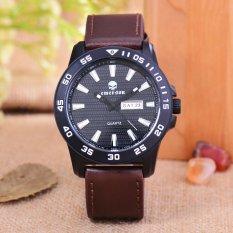 Emerson - Jam Tangan Pria - Body Black - Black Dial - Brown Leather Strap - EM-5596-T / H-BB