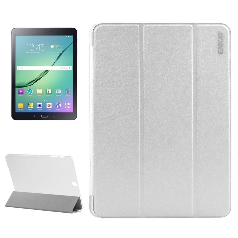 ENKAY Silk Texture PU Leather + Translucent Frosted Plastic Case with 3-folding Holder for Samsung Galaxy Tab S2 9.7 / T815(White)