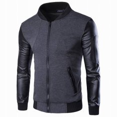 EOZY Fashion Men's Motorcycle Jacket Casual Coats Korean Style Vogue Male Leisure Stand Collar Long Sleeve Coat Outwear Jacket Size M-3XL (Grey) - Intl