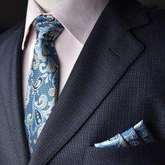 EOZY Men's Formal Commercial Gentleman Tie And Pocket Towel Set Polyester Silk Neckties Business Vintage Wedding Ties (Blue) (Intl)