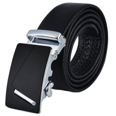EOZY Trendy Men's Leather Ratchet Belt Korean Style Male Waistband Casual Jeans Pants Belts With Automatic Buckle (Black) - Intl